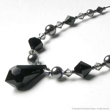 VICTORIAN LACE Jet Black Crystal & Grey by whimsydaisydesigns