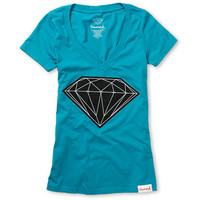 Diamond Supply Girls Big Brilliant Turquoise V-Neck Tee Shirt