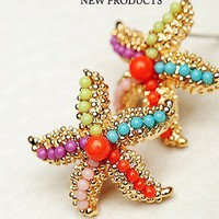 doshow — Colourful Sea Star Pearl Earrings