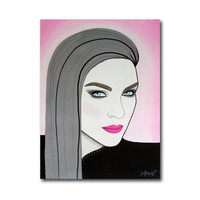Original fashion illustration on canvas. Portrait with mixed media.