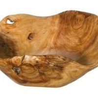 Carved Wood Serving Bowl