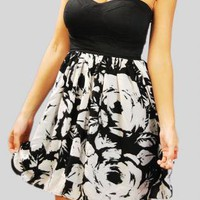 Black Mini Dress - BlackWhite Strapless Dress | UsTrendy