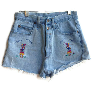 High Waisted Shorts Embroidered Denim Jean Shorts by shortyshorts