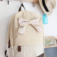 Fashion Cream Backpack with Red Floral Bow & Lace