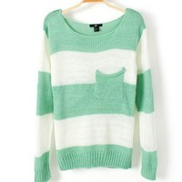doshow  Green White Stripe Pocket Sweater For Women