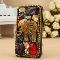 Retro Unique Elephant Rhinestone Hard Cover Case For Iphone 4/4s/5