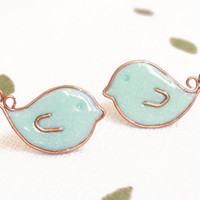 Tiny Mint Green Birds Earrings Studs - Birds Posts - Christmas Gift