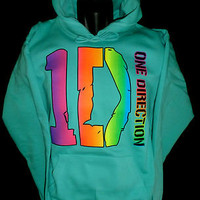 ONE DIRECTION Hoodie, SENSATION'S ~Sweatshirt~Boy Band Fan ~ MULTI COLOR Print ~