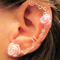 "Non Pierced Cartilage Ear Cuff  ""Roses are Romantic"" Conch Cuff Silver tone"