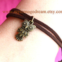 cute vintage style owl leather bracelet ( can be a anklets )