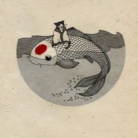 $20.00 A print for Japan: Koi and Cat (100% Proceeds go to relief efforts) by eggagogo on Etsy
