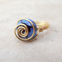Royal Blue Ring:  Gold Wire Wrapped Spiral Jewelry, Cobalt Blue Swirl Ring