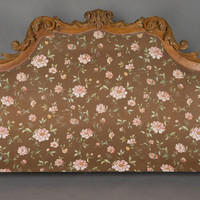 Art & Antiques - CINOA - Massive French 19th Century Fruitwood Carved and Upholstered Headboard