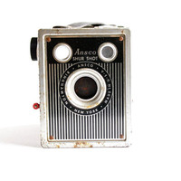 Vintage Ansco Shur Shot Camera - 1940s Black Box Photography / Pin Stripes
