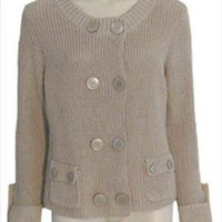 New Talbots Tan Cotton Cable Knit Sweater