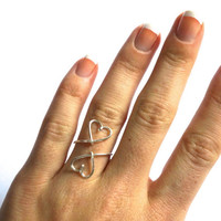 double heart ring - love ring - wire wrapped heart ring