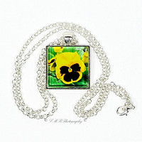 Photo Pendant Necklace, Yellow Pansy Pendant Necklace, Glass Tile Pendant Necklace, Photo Jewelry
