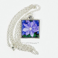 Photo Pendant Necklace, Flower Pendant Necklace, Glass Tile Pendant Necklace, Photo Jewelry