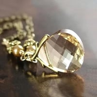 Golden Shadow Crystal Necklace Swarovski Ginger by DorotaJewelry