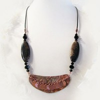 Copper Black Brown Agate Crystal Leather Necklace