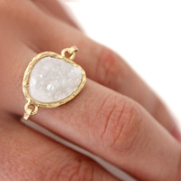 Druzy white ring 14kt gold filled - custom size