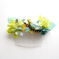Parakeet Bird Magpie Party hair comb // Mints, limes and yellows