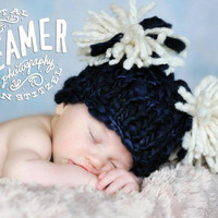 Hand Knit Newborn Baby Hat in Navy with Ivory by ittybittybluesky