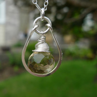 Champagne quartz onion drop sterling silver by candyamorjewelry