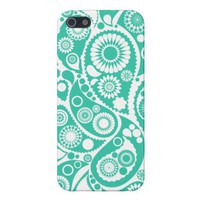 Turquoise Retro Paisley Pattern Cover For iPhone 5 from Zazzle.com