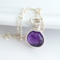 Amethyst Necklace Wire Wrapped Necklace by Jewels2Luv on Etsy