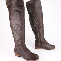 leatherette over the knee boot $32.50 in BROWN TPEGRY - Boots | GoJane.com