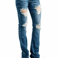 bootleg jeans &amp;#36;35.70 in BLUE - Jeans | GoJane.com