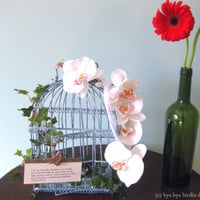 Decorative Bird Cage / Blue Metal Birdcage with Orchid and Ivy / Inspirational Birdcage for Decor