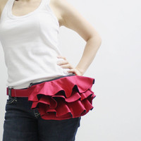 KINIES Ruffled Waist Purse in Red Fanny Pack / Hip Bag by Kinies