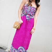 RESTOCK Lost In Time Maxi Dress: Magenta | Hope&#x27;s