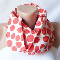 Infinity Scarf, Loop Scarf, Big Dotted, Cotton Scarf
