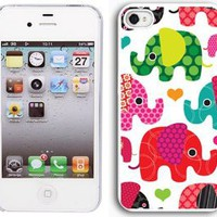 Amazon.com: Apple iPhone 4 4S 4G White 4W1 Hard Back Case Cover Colorful Elephants Hearts: Cell Phones & Accessories