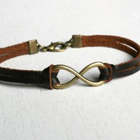 Infinity Bracelet with Leather Band � Good for Man