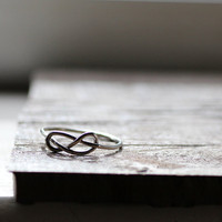 Rustic Sterling Infinity Knot Ring by tinahdee on Etsy