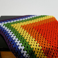 Rainbow Afghan Granny Square full ROYGBIV by NikisKnerdyKnitting