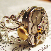 Steampunk ring 22 jewel watch movement sterling by InsomniaStudios