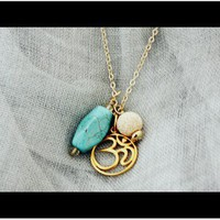 Om Gold Necklace with Turquoise