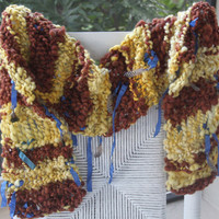 Hand Knit Bulky Scarf named Bird Nest in Yellow and by bpenatzer