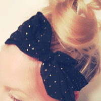 Lovely Thin Headscarf Many Ways To Wear Black Gold Studded Print Sheer Bow Turban Easy DOLLAR SHIPPING in US