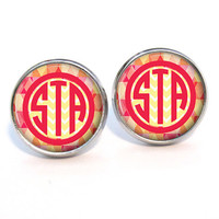 Monogram Earrings Poppy Argyle Chevron  (405)