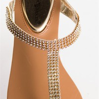 Jeweled T-strap Sandals - Gold from Sandals at Lucky 21 Lucky 21