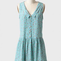 floral fields collared dress in blue at ShopRuche.com