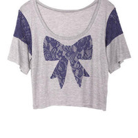 O. Lace Inset Shoulder Bow Tee