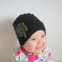 Lucky Clover crochet shamrock hat in black, infants 6-9 months, ready to ship.