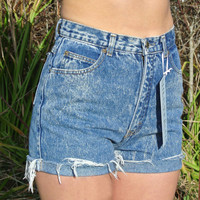 "High Waisted Shorts Size 4 / 5 Bonjour Acid Wash Denim Cuffed Shorts Milky Fr3sh ""Misty"""